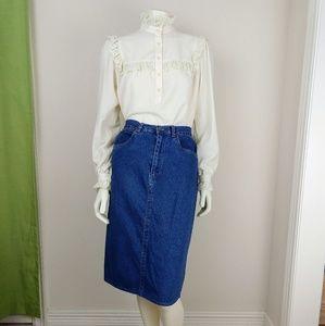 Vintage 80s Highwaisted Denim Midi Pencil Skirt